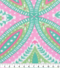 Blizzard Fleece Fabric-Pink and Green Medallion