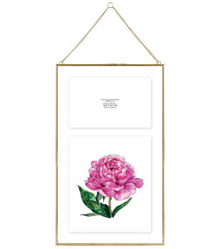 Pressed Glass & Metal Hanging Float Picture Frame 12''x20''-Brass