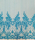 Casa Embellish Dahlia Fabric-Blue Embellished Linear Floral