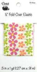 Dritz 1/2\u0022 Foldover Elastic Floralsnow1Yd