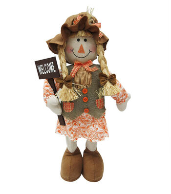 Simply Autumn 22'' Fall Girl Scarecrow Sitter-Welcome
