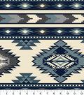 Anti-Pill Fleece Fabric 58\u0022-Southwest Stripe Blue