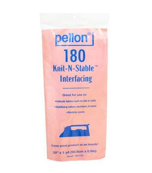 Pellon 180 Knit-N-Stable Fusible Interfacing 20''x1 yd-White