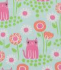 Blizzard Fleece Fabric 59\u0027\u0027-Pink Kitties & Bloom