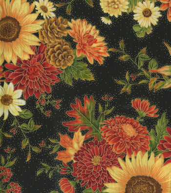 Harvest Cotton Fabric-Large Sunflowers