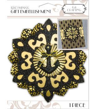 K&Company Black And Gold Medallion Gift Embellishment