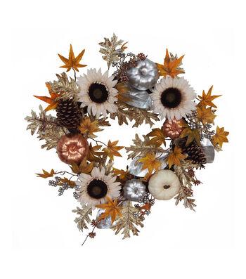 Blooming Autumn Sunflower, Pumpkin & Pinecone Mixed Wreath-Metallic