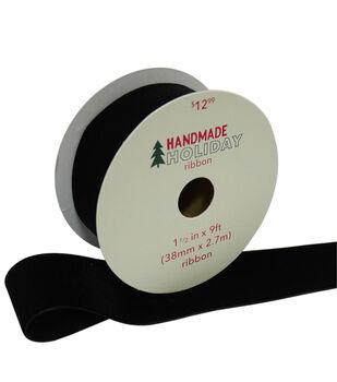 Handmade Holiday Christmas Velvet Ribbon 1.5''x9'-Black