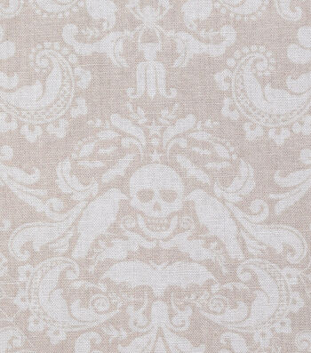 "Halloween Cotton Fabric 43""-Coffin Damask Cream"