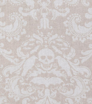 Halloween Cotton Fabric-Coffin Damask on Cream
