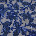 Casa Dahlia Sequin Embroidered Fabric-Elegant Navy Blue