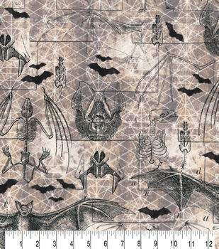 Hallowen Cotton Fabric-Bats And Skeletons