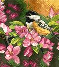 Chickadee In Pink Mini Needlepoint Kit-5\u0022X5\u0022 Stitched In Thread