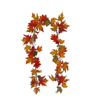Blooming Autumn 68'' Maple Leaf & Berry Garland-Orange