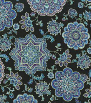Premium Cotton Fabric-Purple & Teal Medallions
