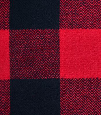 Flannel Shirting Fabric 44''-Red & Black Buffalo Plaid