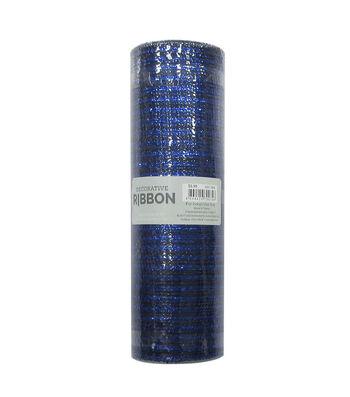 Decorative Ribbon Metallic Deco Mesh 10''x10 yds-Navy Blue