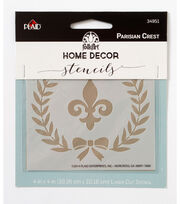 FolkArt Home Decor 4''x4'' Laser Cut Stencil-Parisian Crest, , hi-res