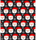 Holiday Showcase Christmas Cotton Fabric 43\u0027\u0027-Ditsy Santa & Snowflakes on Black