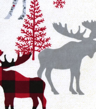 Snuggle Flannel Fabric -Patterned Buffalo Check Moose