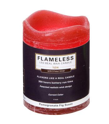 Inglow 3X4In Pillar Red Flameless