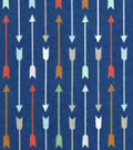 Snuggle Flannel Fabric -Multi Arrows On Blue