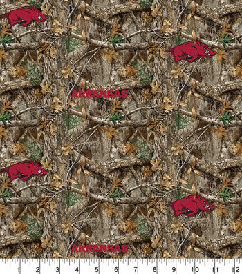 "Arkansas Collegiate Realtree Cotton Fabric 42""-Camo & Logo"