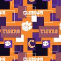 Clemson University Tigers Cotton Fabric -Modern Block