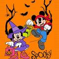 Disney Mickey & Minnie No Sew Fleece Throw-Spooky