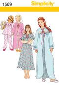 Simplicity Pattern 1569HH 3-4-5-6 -Child Girl Sleepwear