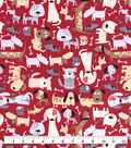 Snuggle Flannel Fabric-Red Dogs Tossed