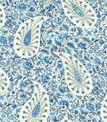 Waverly Upholstery Fabric 54\u0022-Paisley Verveine/Bluejay