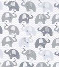 Nursery Cotton Fabric -Grey Dream Chevron Elephant