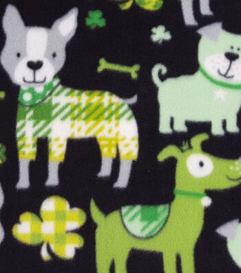 "Lucky Irish Fleece Fabric 59""-Lucky Dog"