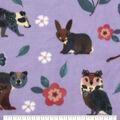 Anti-Pill Plush Fleece Fabric-Floral Fox Purple