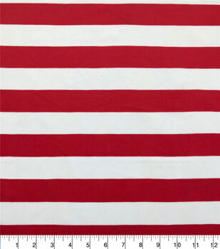 The Witching Hour Costume Knit Fabric-Red White Stripe
