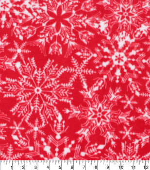 Christmas Anti-Pill Plush Fleece Fabric-White Snowflakes on Red