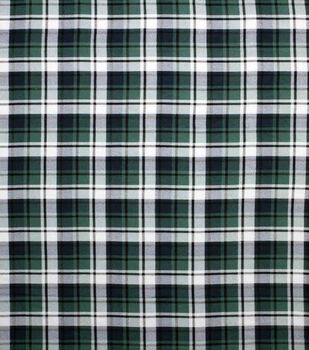 Super Snuggle Flannel Fabric-Green & Navy Plaid