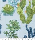 Anti-Pill Plush Fleece Fabric-Cacti On Blue Watercolor