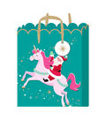 American Crafts Large Gift Bag with Tag-Santa Unicorn Gold Glitter