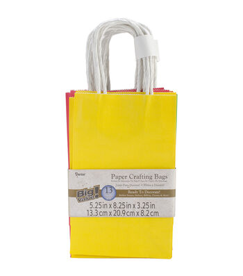 """Paper Bags 3.25""""X5.25""""X8.375"""" 13/Pkg-Assorted Primary"""