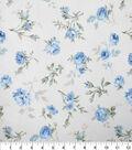 Premium Cotton Fabric-White Tossed Flowers & Buds