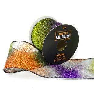 Maker's Halloween Decor Glitter Ribbon 2.5''x12'-Orange & Purple Ombre