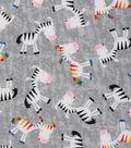 Novelty Cotton Fabric 44\u0022-Zebras On Gray
