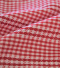 Specialty Cotton Micro Gingham with Stripe Cotton Fabric-Red White