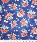 Premium Quilt Cotton Fabric-Sadie Flower Bunches Blue