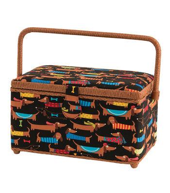 Sewing Basket Medium Rectangle-Dogs