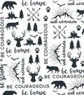 Nursery Cotton Fabric-Black Be Brave & Map on White