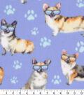 Blizzard Fleece Fabric-Cool Doggies on Blue