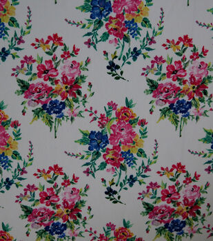 "Silky Stretch Crepe Fabric 57""-Multi Bouquets"